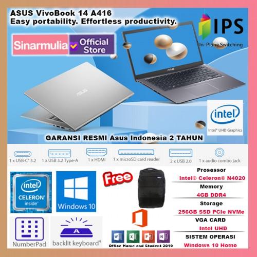 ASUS VivoBook 14 A416MA Intel Celeron N4020 DDR4 4GB SSD 256GB FHD IPS