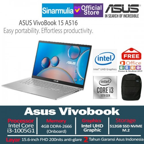Asus Vivobook 15 A516 i3-1005G1 512GB SSD 4GB 15.6 Inch FHD Win 10 + OHS1