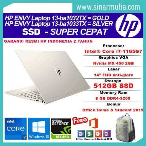 HP ENVY 13-ba1032TX/ba1033TX i7-1165G7 512GB SSD 16GB MX 450 2GB Win103