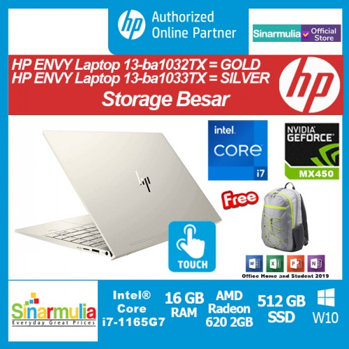 HP ENVY 13-ba1032TX/ba1033TX i7-1165G7 512GB SSD 16GB MX 450 2GB Win10
