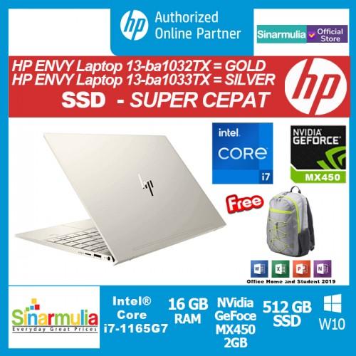 HP ENVY 13-ba1032TX/ba1033TX i7-1165G7 512GB SSD 16GB MX 450 2GB Win105