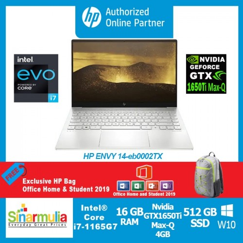 HP ENVY 14-eb0002TX i7-1165G7 GTX1650Ti Max-Q 4GB 1TB SSD 16GB Win10