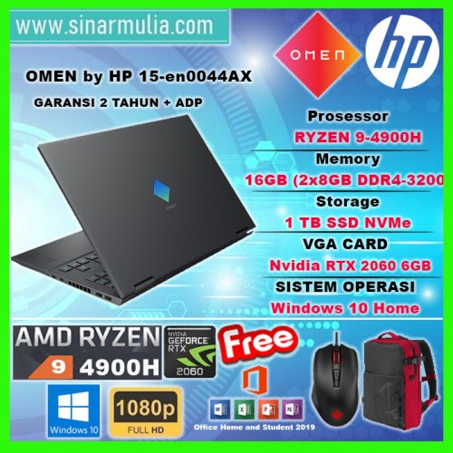 HP OMEN 15-EK0044TX i7-10750H 16GB 1TB RTX2060 6GB 144Hz Win10+OHS