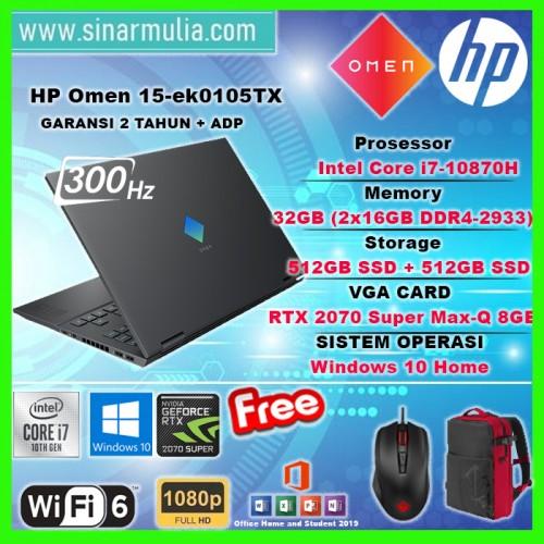 HP OMEN 15-ek0105TX i7-10870H 32GB 512GB+512GB RTX2070 300Hz Win10+OHS2