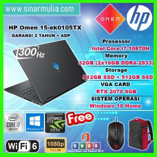 HP OMEN 15-ek0105TX i7-10870H 32GB 512GB+512GB RTX2070 300Hz Win10+OHS