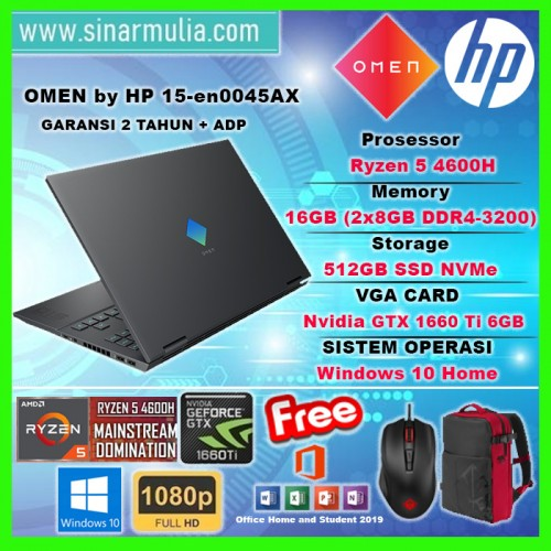 HP OMEN 15-en0045AX RYZEN 5-4600H 512GB SSD 144hz 16GB GTX 1660 Ti 6GB