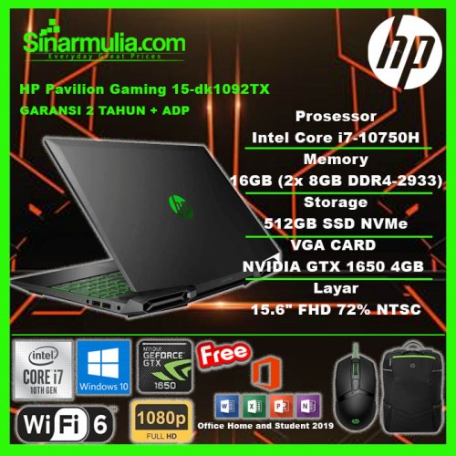 HP Pavilion Gaming 15-dk1092TX i7-10750H 16GB 512GB GTX1650 72% NTSC