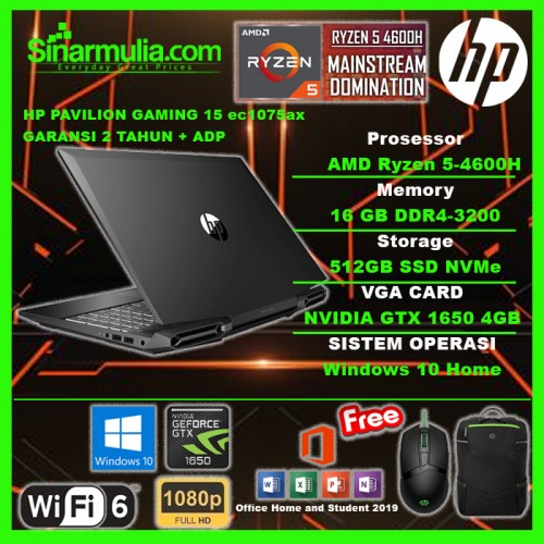HP PAVILION GAMING 15 Ryzen 5 4600H 512 GB 16GB GTX 1650 72%NTSC Win101