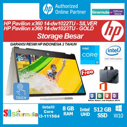 HP Pavilion x360 14-dw1022TU/dw1023TU i3-1115G4 512GB SSD 8GB W10+OHS1