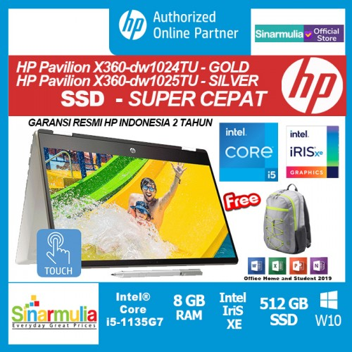 HP Pavilion x360 14-dw1024TU/dw1025TU i5-1135G7 512GB SSD 8GB Intel Xe