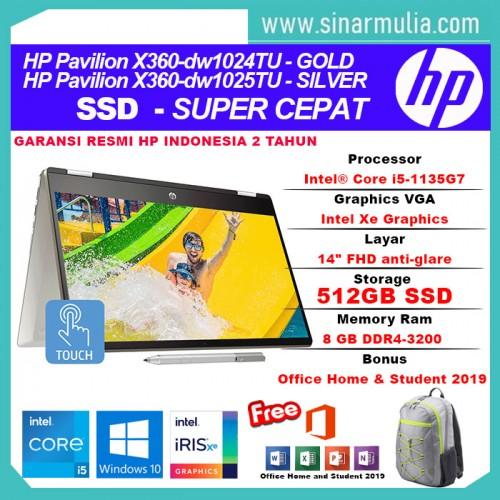 HP Pavilion x360 14-dw1024TU/dw1025TU i5-1135G7 512GB SSD 8GB Intel Xe2