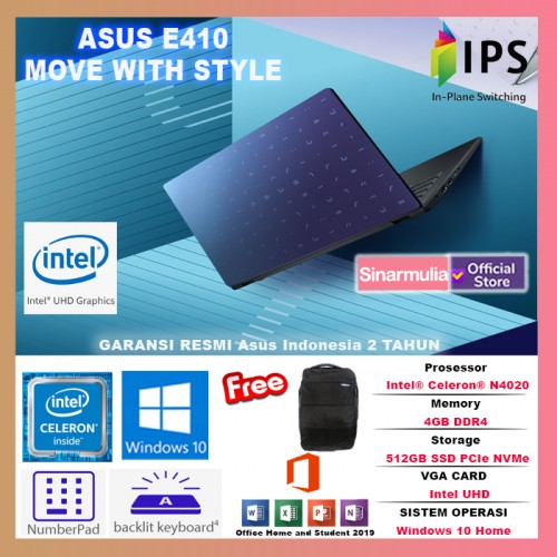 LAPTOP ASUS E410MA INTEL CELERON N4020 512GB SSD 4GB WIN10 BACKLIGHT