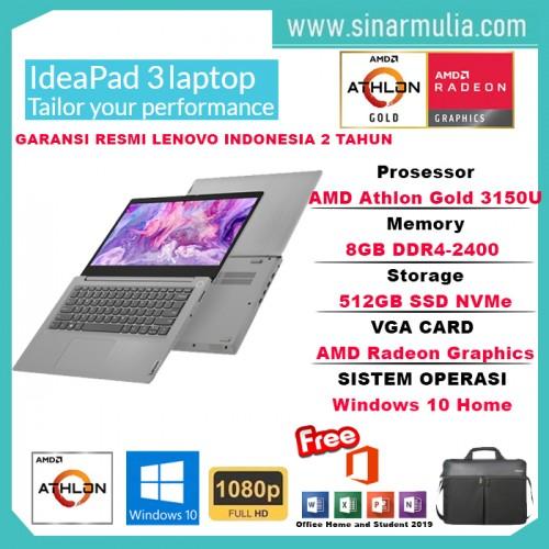 Laptop Lenovo IdeaPad Slim 3 Athlon 3150U 8GB 512GB SSD WIN10+OHS1