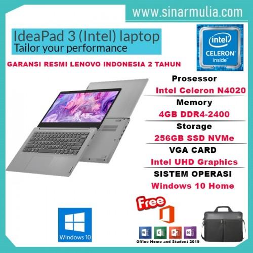Laptop Lenovo ideapad Slim 3i Celeron N4020 256 GB SSD Win10+OHS Murah1
