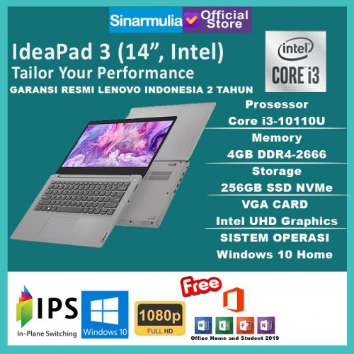 Laptop Lenovo Ideapad Slim 3i i3-10110U 256GB SSD 4GB Win10+OHS - AbyssBlue