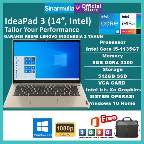Laptop Lenovo IDEAPAD Slim 3i i5-1135G7 512GB SSD 8GB Iris Xe W10+OHS1