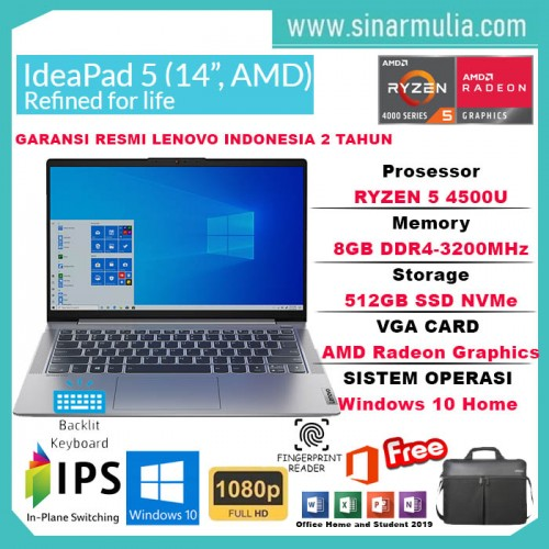 Laptop Lenovo Ideapad Slim 5 Ryzen 5 4500U 8GB 512GB SSD WIN10+OHS1