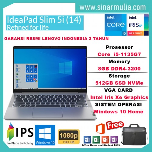 Laptop Lenovo IdeaPad Slim 5i i5-1135G7 512GB SSD 8GB Iris Xe WIN105