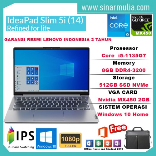 Laptop Lenovo IdeaPad Slim 5i i5-1135G7 8GB MX450 2GB 512GB SSD WIN101