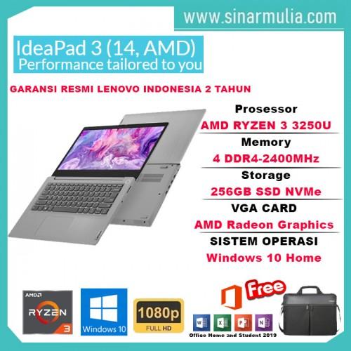 LAPTOP LENOVO SLIM 3 RYZEN 3-3250U 4GB 256GB SSD WIN10+OHS1