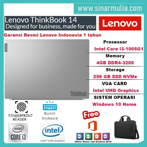 Laptop Lenovo Thinkbook 14 i3-1005G1 256GB SSD 4GB