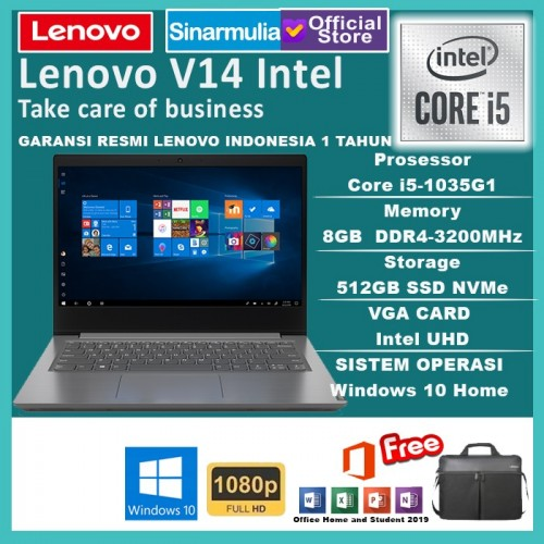 "Laptop Lenovo V14 i5-1035G1 512GB SSD 8GB 14"" FHD WIn10+OHS"