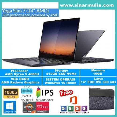 "LAPTOP LENOVO YOGA SLIM 7 RYZEN 5-4500U 16GB 512GB 14"" FHD Win10+OHS1"