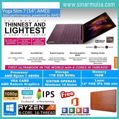 "LAPTOP LENOVO YOGA SLIM 7 RYZEN 7-4800U 16GB 1TB SSD 14"" FHD WIN10+OHS1"