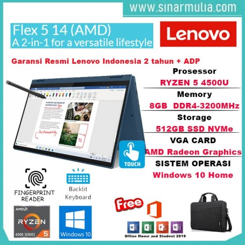 Lenovo Flex 5 14ARE05 Ryzen 5 4500U 8GB 512GB SSD Win10+OHS3