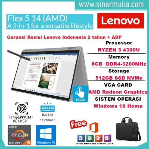 Lenovo Flex 5 Ryzen 3 4300U 8GB 512GB SSD IPS Win10+OHS Orignal3