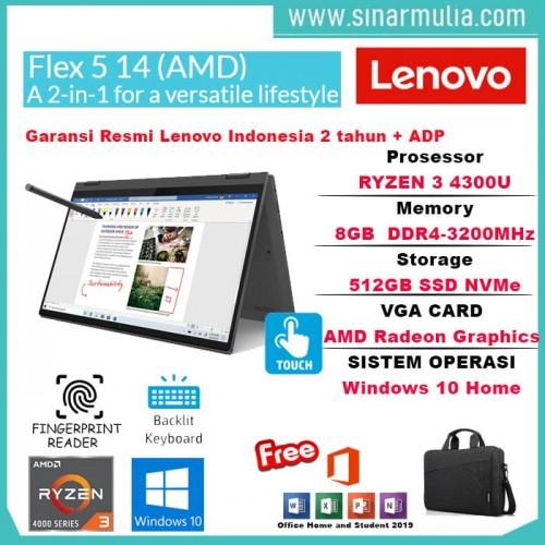 Lenovo Flex 5 Ryzen 3 4300U 8GB 512GB SSD IPS Win10+OHS Orignal1