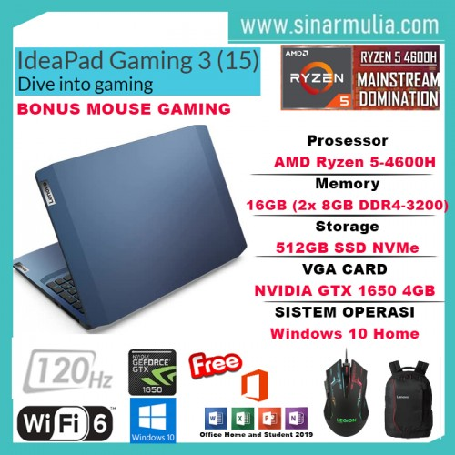 LENOVO IDEAPAD Gaming 3 Ryzen 5 4600H 512GB SSD 16GB GTX1650 120Hz Win10+OHS1
