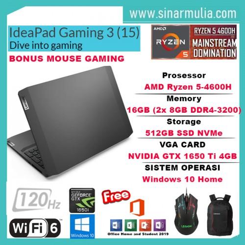 LENOVO Ideapad Gaming 3 Ryzen 5 4600H 512GB SSD 16GB GTX1650Ti 120Hz1