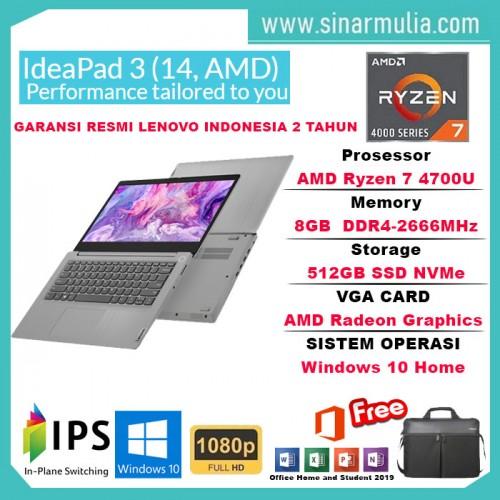 Lenovo ideapad Slim 3 AMD Ryzen 7 4700U 8GB 512GB SSD Win10+OHS1