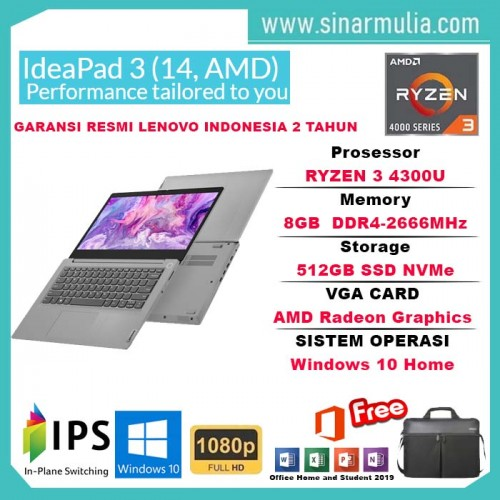 Lenovo ideapad Slim 3 Ryzen 3 4300U 8GB 512GB SSD Win10+OHS BLACK1