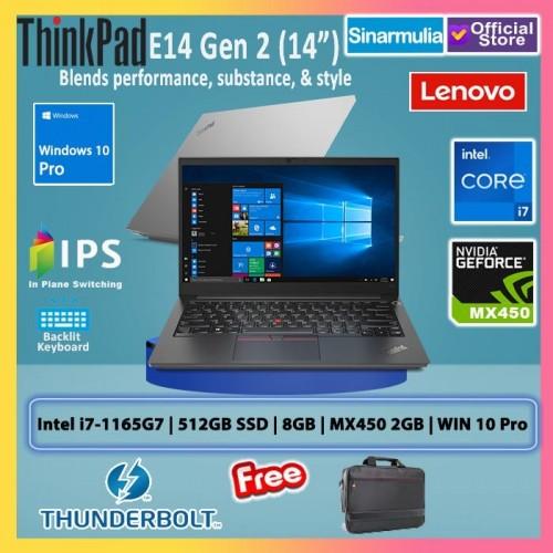 Lenovo ThinkPad E14 G2 i7-1165G7 512GB SSD 8GB MX450 Win 10 Pro