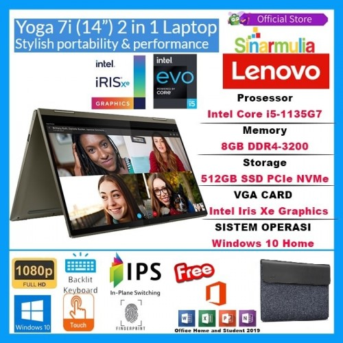 LENOVO YOGA 7i i5-1135G7 512GB SSD 8GB Intel Iris Xe WIN 10+OHS1