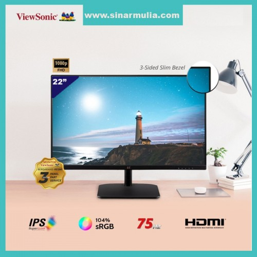 Monitor LED 22 ViewSonic VA2232-H 75HzIPS103% sRGBFrameless FHD