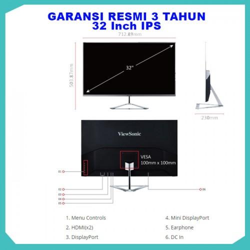 "Monitor LED 32"" ViewSonic VX3276-2K-MHD |IPS|Frameless|HDMI|DP6"