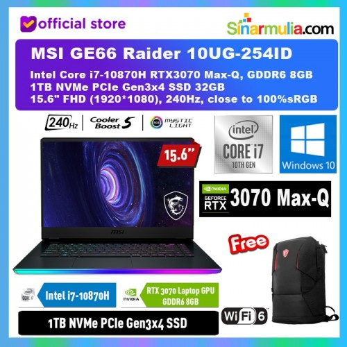 MSI GE66 10UG-254ID i7-10870H RTX3070 Max-Q 8GB 1TB SSD 32GB 240Hz1