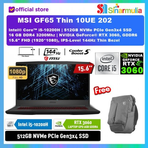 MSI GF65 Thin 10UE 202 i5-10200H RTX3060 6GB 512GB SSD 16GB Win 101