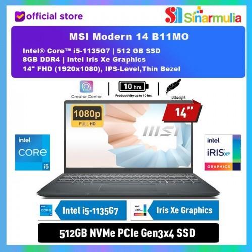 MSI Modern 14 B11MO i5-1135G7 512GB SSD 8GB INTEL Iris Xe Win 101
