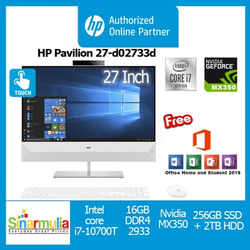 PC AIO HP Pavilion 27-d0733d i7-10700T 512GB SSD 8GB MX350 Win10+OHS