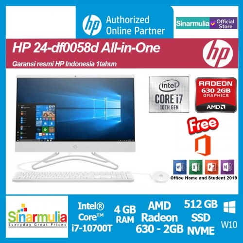 PC All in One HP 24-df0058d i7-10700T 512 GB SSD 4GB Radeon 630 2GB