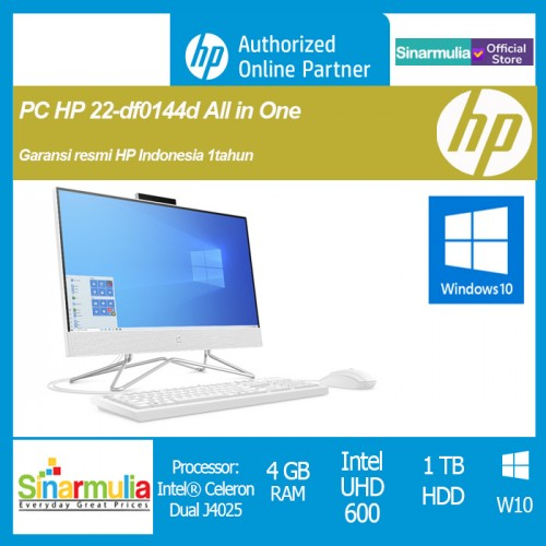 "PC HP AIO CELERON J4025 4GB 1TB 21.5"" Win10 Murah (HP 22-DF0144D)"