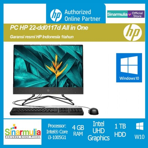 "PC HP AIO i3-1005G1 4GB 1TB 21.5"" Win10 Murah (HP 22-dd0117d)"