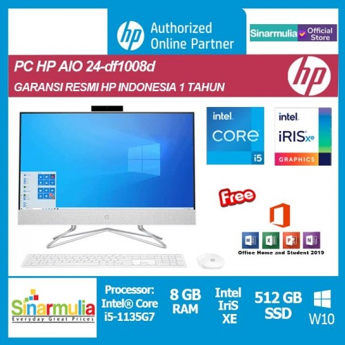 PC HP All-in-One 24-df1008d i5-1135G7 8GB 512GB SSD Iris Xe Win10+OHS