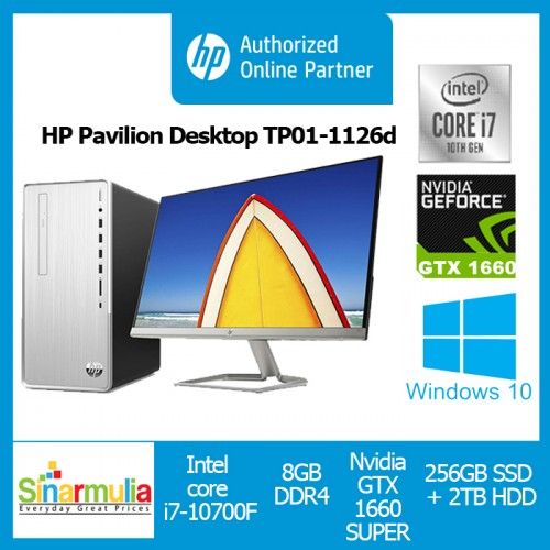 PC HP Pavilion Desktop TP01-1126d i7-10700F 8GB GTX1660 SUPER WIN10